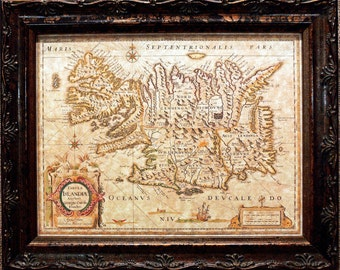 Iceland Map Print of a 1645 Map on Parchment Paper