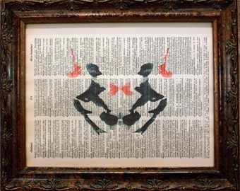 Rorschach Ink Blot 3 Art Print on Dictionary Book Page