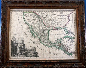 Mexico Map Print of an 1810 Map on Parchment Paper