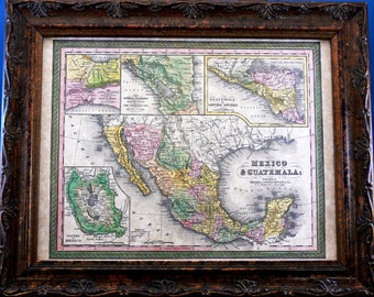 Mexico-Guatemala Map Print of an 1850 Map on Parchment Paper