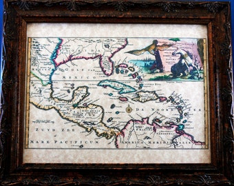 Mexico-West Indies-Florida Map Print of a 1747 Map on Parchment Paper