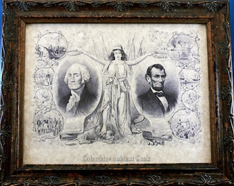 Columbia's Noblest Son's Art Print from 1865 on Parchment Paper