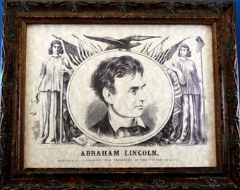 Abe Lincoln Republican Candidate for President Art Print from 1860 on Parchment Paper