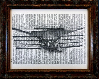 Early Flight Airplane Art Print on Dictionary Book Page