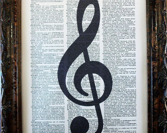 Treble Clef Music Note Art Print on Dictionary Book Page