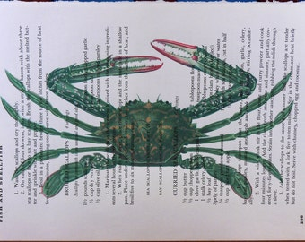 Green Crab Art Print from 1873 on Random Page of Vintage Cookbook