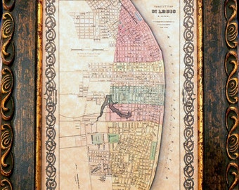 City of St. Louis Map Print of an 1856 Map on Parchment Paper 5x7