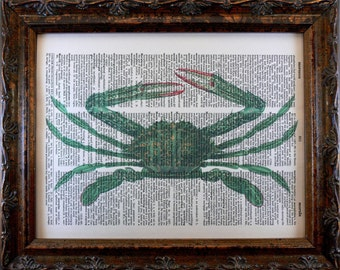 Green Crab Art Print from 1873 on Vintage Dictionary Book Page