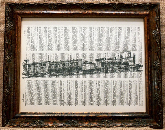 Uphill Train Art Print on Vintage Dictionary Book Page