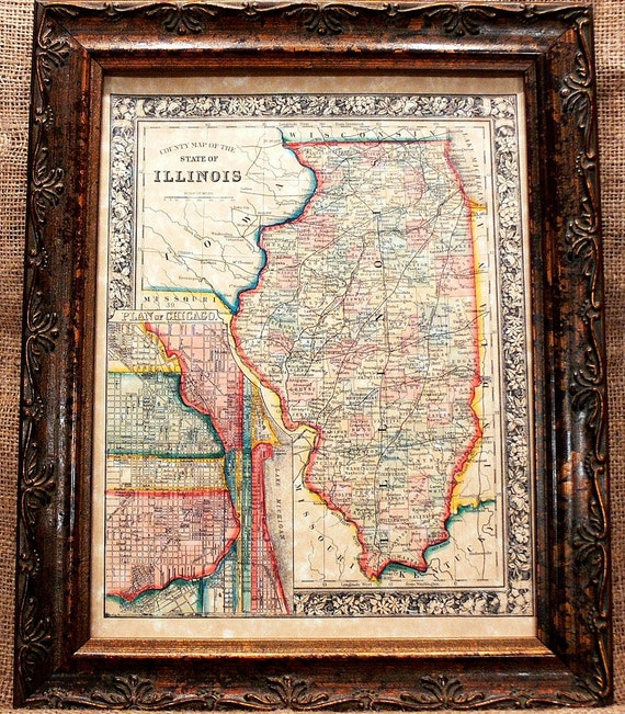 Illinois State Map Print of an 1861 Map on Parchment Paper