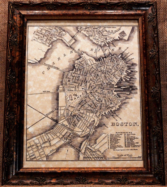 City of Boston Map Print of an 1842 Map on Parchment Paper