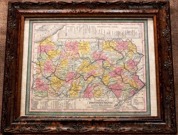 Pennsylvania State Map Print of an 1850 Map on Parchment Paper