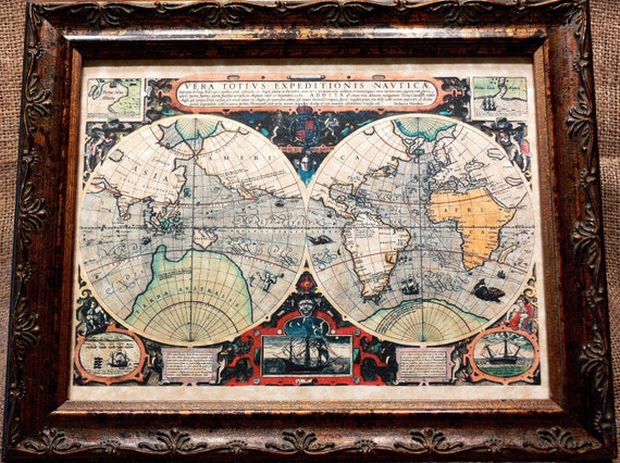 Double Hemisphere World Map Print of a 1595 Map on Parchment Paper