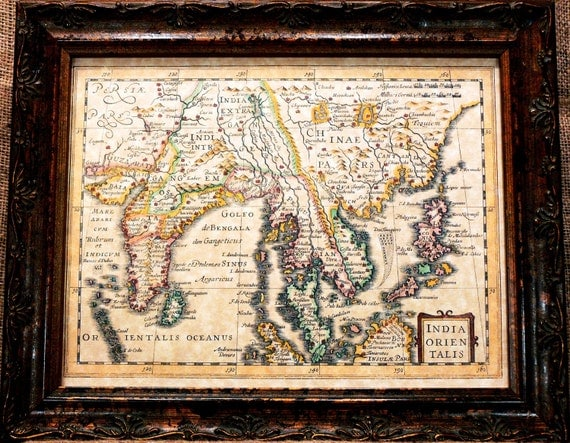 India Region Map Print of a 1632 Map on Parchment Paper
