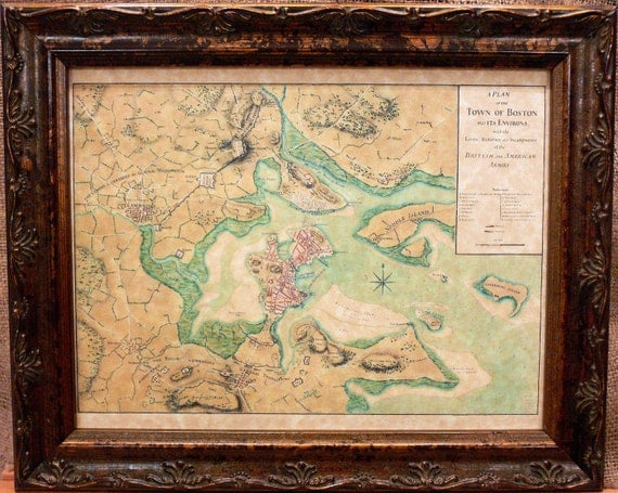 Siege of Boston Map Print of a 1776 Map on Parchment Paper