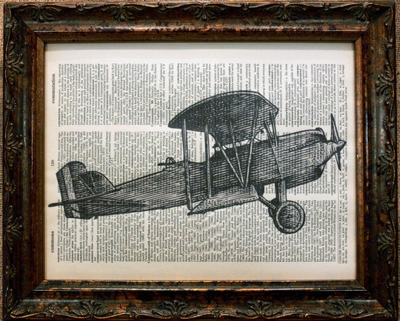 WWI Airplane Art Print on Dictionary Book Page