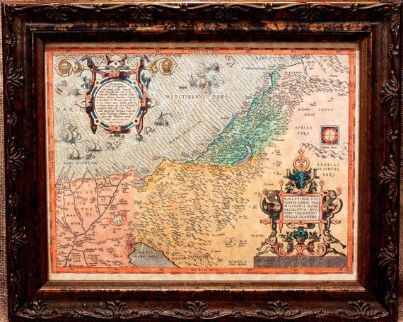 Palestine and the Promised Land Map Print of a 1572 Map on Parchment Paper