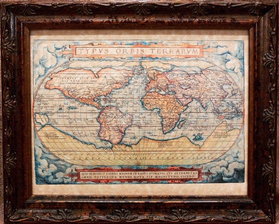World Map Print of a 1572 Map on Parchment Paper