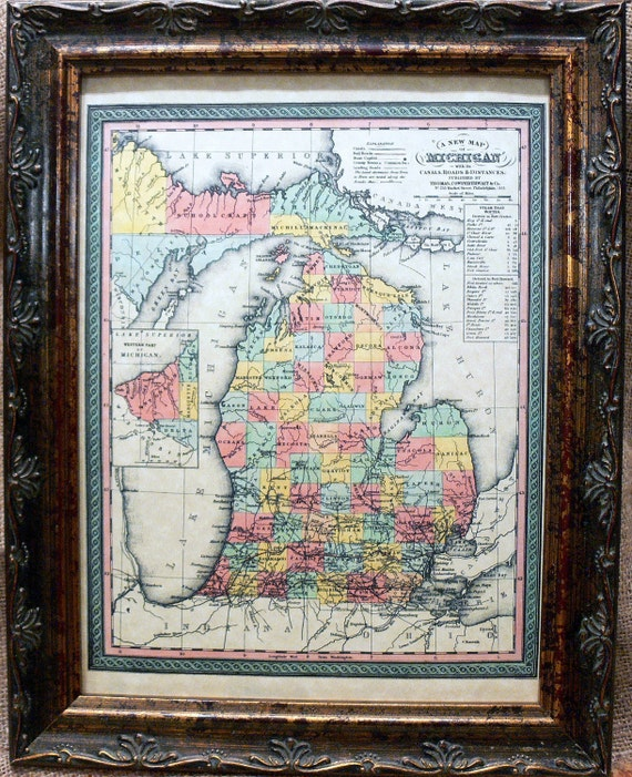 Michigan State Map Print of an 1853 Map on Parchment Paper