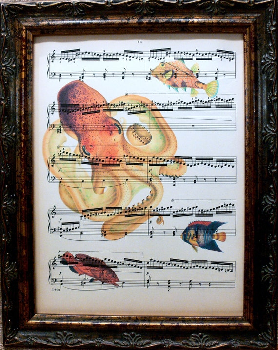 A Page in Time Design Octopus with Fish Art Print on Antique Music Book Page