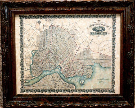City of Brooklyn NY Map Print of an 1863 Map on Parchment Paper