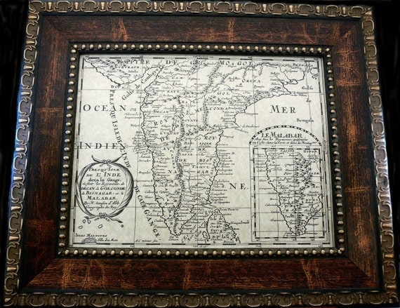 India Map Print of a 1652 Map on Parchment Paper 11x14