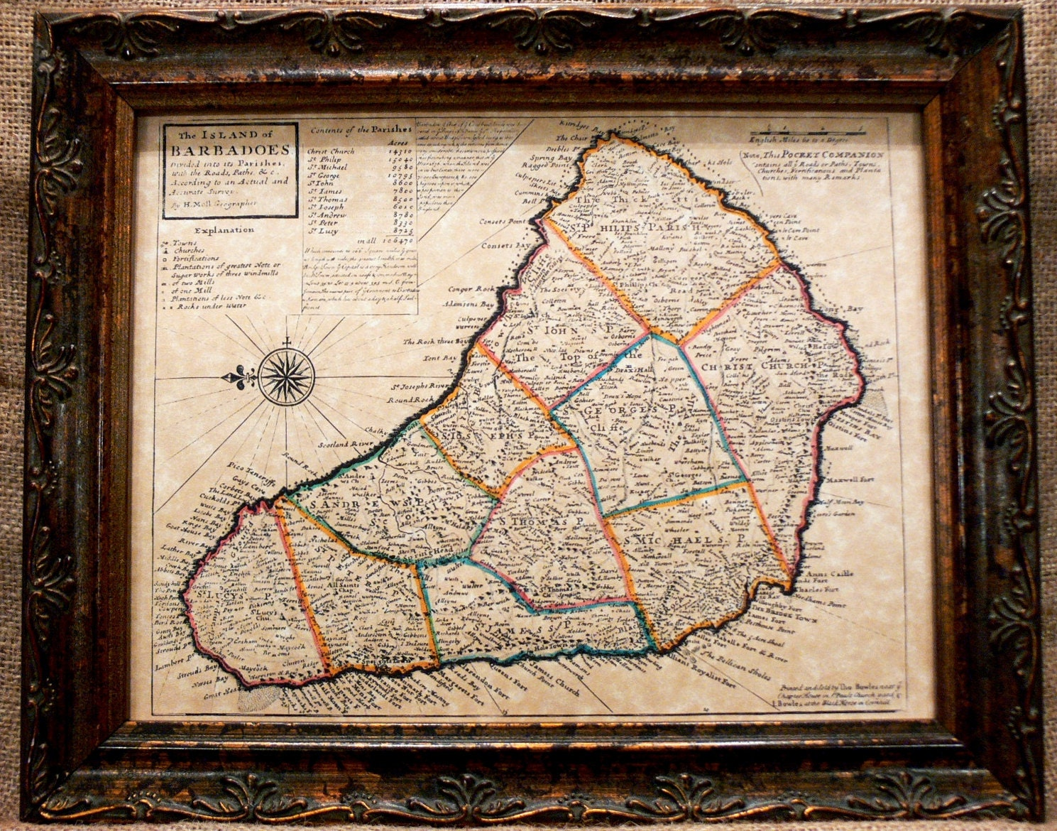 Island Of Barbados Map Print Of A Map On Parchment Paper - Parchment paper map of us