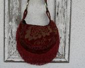 Bohemian Gypsy Purse Bag Burgundy Handbag Slouchy Fringe Satchel Carryall Messenger Tote