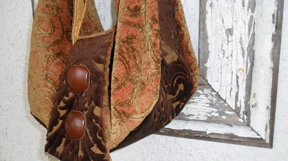 Bohemian Gypsy Purse Bag Tote Slouchy Bag Maket Carryall Vintage Buttons Velvet Rust Brown Handbag Messenger Bag Satchel