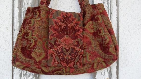 Bohemian Gypsy Purse Bag Victorian Carpetbag Handbag Satchel Carryall Burgundy Tote