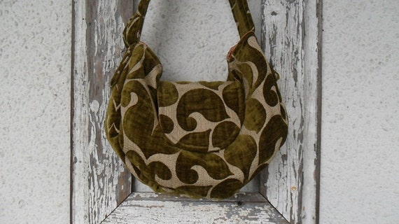 Black Friday Sale Gypsy Bohemian Bag Purse Olive Chenille Hobo