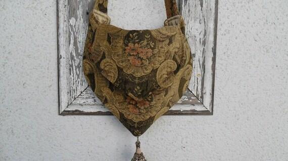 Bohemian Gypsy Bag Purse Chenille Floral Tassel