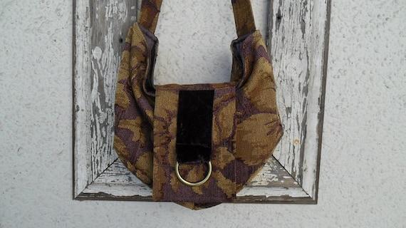 Bohemian Gypsy Bag Purse Vintage Chenille Plum Purple Velvet Hobo