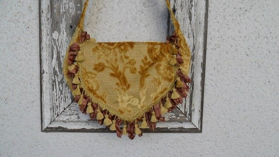 Bohemian Gypsy Bag Purse Gold Chenille Ribbon Fringe Tassels Hippie Hobo Slouchy