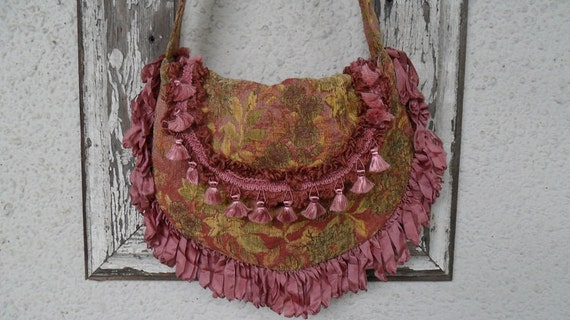 RESERVED for Cat -- Bohemian Gypsy Bag Purse Tapestry Fringe Hobo Slouchy Chenille Crossbody Victorian Edwardian