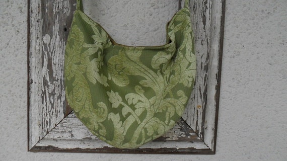 Bohemian Gypsy Bag Purse Chenille Kiwi Green Silk Messenger Hobo Slouchy Crossbody