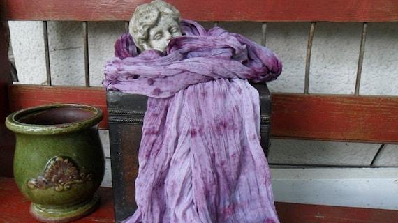 Tie Dye Chiffon Scarf Wrap Belt Headband Shawl Purple Plum Textured Bohemian Gypsy Hippie