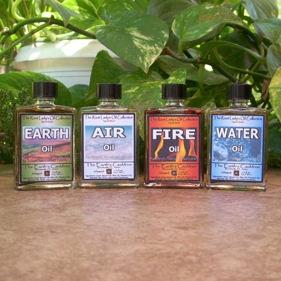 Hoodoo Oils, Set 4 The Elements Set - Earth, Air, Fire, Water, Ritual Oils, Spell Oils