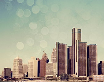 Detroit Photography - Dreamy Detroit Skyline - Fine Art Print