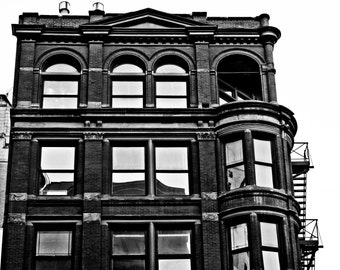 Urban Photography - Victorian Brick Apartment Building - Detroit - Fine Art - Black and White - 8x10