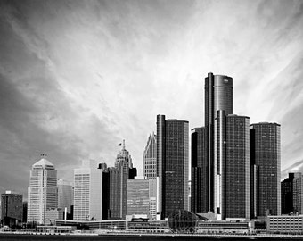 Detroit Photography - Detroit Black and White Skyline