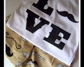 LOVE mustache shirt and shorts set for boys