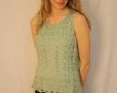 Vintage 80s Lace Tank Top / Size 10 / Carlisle brand / Light Green