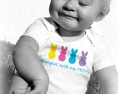 HANGIN' with MY PEEPS Baby Bodysuits, Tot Tees, Infant, Newborn, Toddler, Humor, Funny, Easter, Candy, Marshmellow, Holiday
