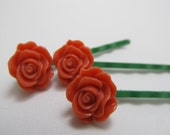 Blooming Coral Rose Hair Pins Romantic Vintage
