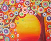 Giclee PRINT on Stretched canvas in Red Orange Yellow 'Circle Tree'  Ready to hang on the wall
