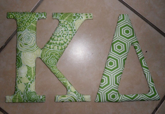 Kappa Delta Alpha Delta Pi Sorority Fabric Greek Letters Anthropologie-Inspired