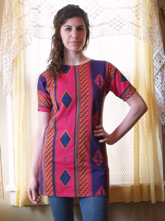 Vintage Handmade Aztec Tribal Native Print Dress - Pink, Purple, Orange, Turquoise Tunic - Mini Dress - Small Medium