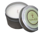 Custom Event 4oz Travel Tin Soy Candle Favors with Personalized Theme Labels (Case of 24)