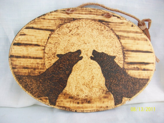 Sale- Wood Burned Wolf Wall Plaque - Titled -  Mirrored Moon Wolves - Wolves - Wolf Decor - Elusive Wolf